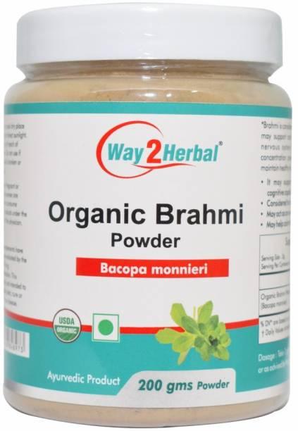 Way2Herbal Organic Brahmi Powder - 200 gms - Pack of 2