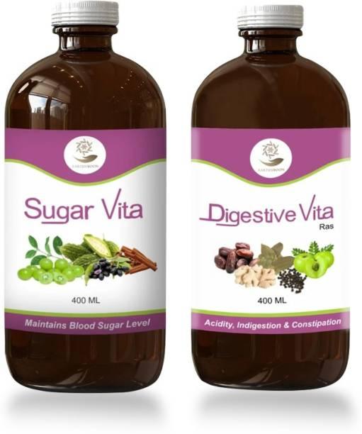 EARTHY BOON Ayurvedic Sugar Vita Ras and Digestive Vita Ras Combo