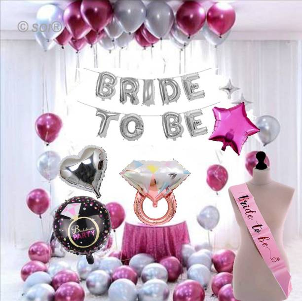 SOI Solid (45 Pcs )Bride to Be Complete Decoration Combo for Bride Bachelorette Party Decoration Sash Star Heart Round Foil Balloons Letter Balloon