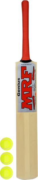 MRF VIRAT KOHLI Signed Full Sized Poplar Willow Cricket Bat With 3 Tennis balls Poplar Willow Cricket  Bat