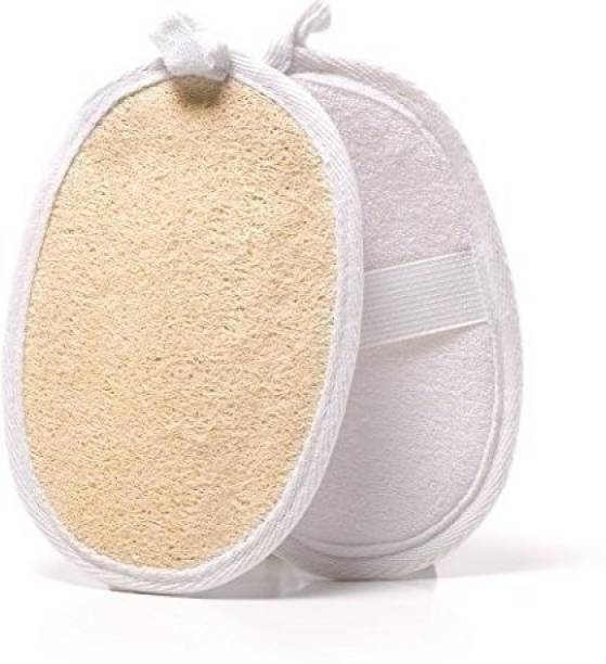 Utkarsh (Pack Of 2 Pcs) Natural Body Wash Eco Friendly Mini Organic Loofah Shower Sponge With Hanging Loop And Elastic Strap Holder For Sensitive Skin Scrubbing & Exfoliating, Bathing, Facial Face Puff And Therapy Facial Discs Pads