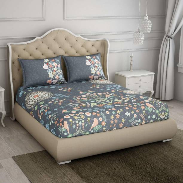 SPACES 350 TC Cotton King Floral Bedsheet