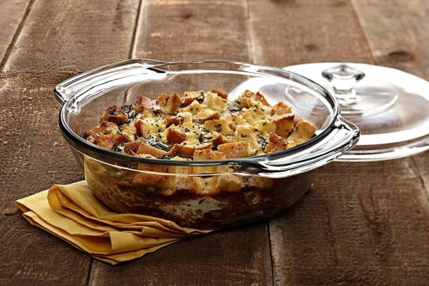 Masox Store Glass Casserole Deep Round - (1.5 LTR) Oven and Microwave Safe Serving Bowl with Glass Lid Set of (1) Glass Serving Bowl