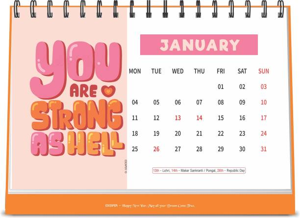 ESCAPER You are Strong 2021 Motivational Table Calendar (A5 Size - 8.5 x 5.5 inch - 12 Pages Month Wise), Desk Calendar 2021 2021 Table Calendar
