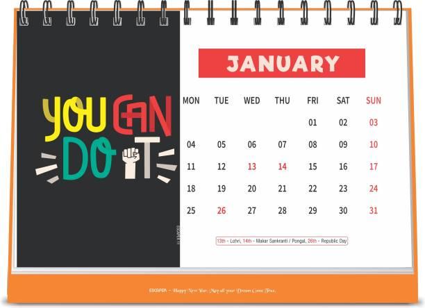 ESCAPER Do It 2021 Motivational Table Calendar (A5 Size - 8.5 x 5.5 inch - 12 Pages Month Wise), Desk Calendar 2021 2021 Table Calendar