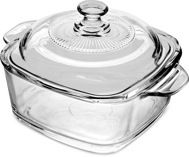 green kivvi Toughen Glass Casserole Serve Bowl Containers Borosilicate Bowl 2.5 Litre Serve Casserole