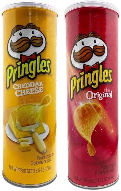 Pringles Potato Crisps, Cheddar Cheese Flavor 158 g + Original Flavor 158 g Chips