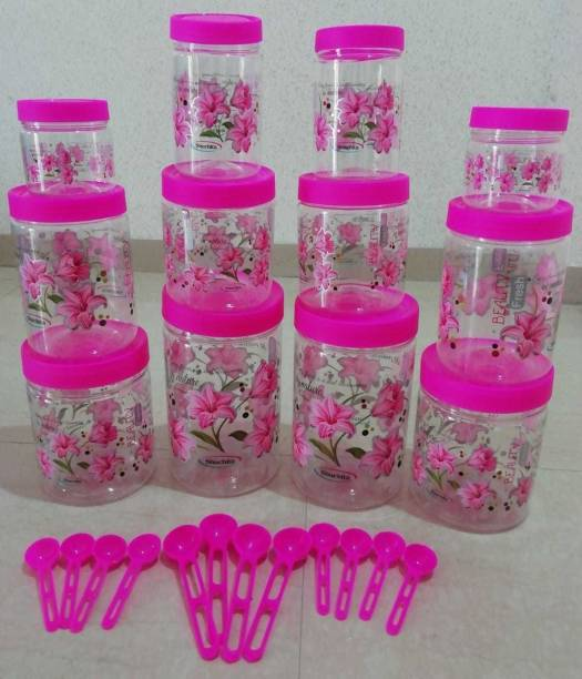 PEYTON 12000ml pink best quality primiyam Kitchen Storage Container Set airtight Box for Spices | Dry Fruits | Cereals | Snacks, Rice, Food for Kitchen Storage - 2000 ml (2 pcs), 1500 ml (2 pcs), 1000 ml (2 pcs), 750 ml (2 pcs), 500 ml (2 pcs), 250 ml (2 pcs) Plastic Grocery Container Combo(Pack of 12, Pink, Clear)  - 12000 ml Plastic Grocery Container