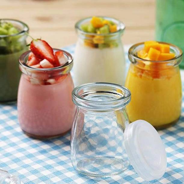 MYYNTI Jars Pudding Jar with Lid Transparent Glass Jars for Yogurt Maker Small Jellies, Honey, Spices, Milk, Jam Container Set for Home Kitchen Dining Table  - 100 ml Glass Milk Container