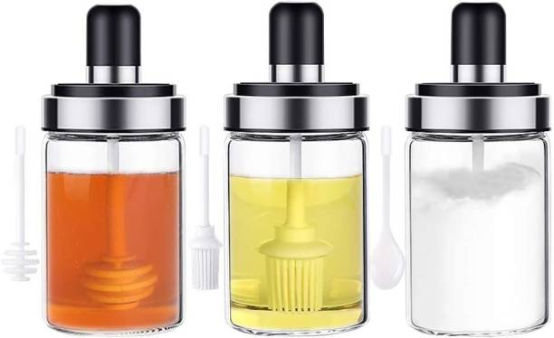 green kivvi Condiment Jars with Lids and Serving Spoons, Clear Empty Spice Containers Seasoning Pots with Airtight Cap for Oil Salt Sugar Honey  - 220 ml, 220 ml, 220 ml Glass Utility Container