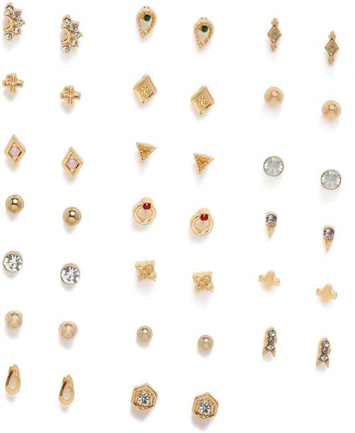 ZAVERI PEARLS Combo of 20 Diamond Stone Stud Earring