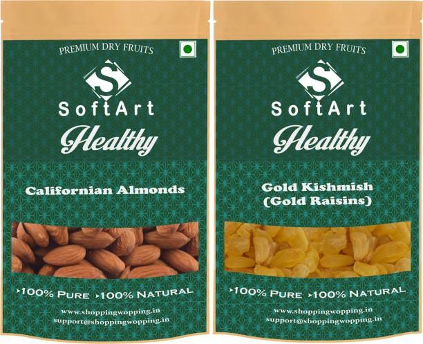 Soft Art Dry fruit combo of Californian Almonds & Gold Kishmish (100g each) Almonds, Raisins