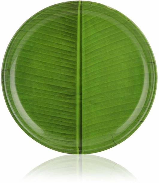 Kitchen flow Melamine banana leaf plate (pack of 6) Dinner Plate