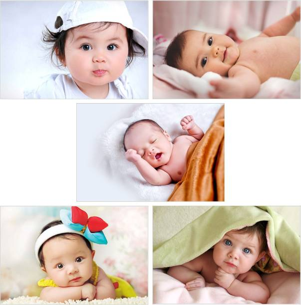 Pack of 5 Cute Baby Posters | Smiling Baby Posters | Poster for Pregnant Women | HD Baby Wall Posters for Room decor Paper Print