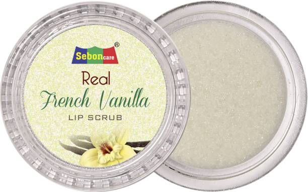 SebonCare French Vanilla Lip Balm Scrub for Brightening and Lightening Enriched with Granulated Sugar, Argan Oil, Castor Oil, Peppermint Oil - Sulfate Paraben Free Scrub
