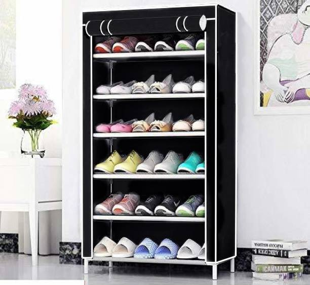 Cmerchants NextGEN Home Creative 6 layer collapsible shoe rack BLACK Metal Collapsible Shoe Stand