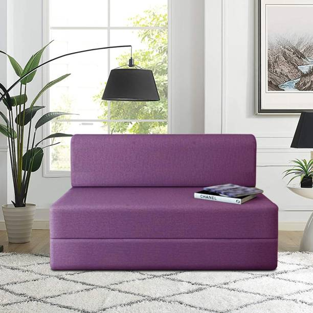 Aart Store Three Seater Sofa Cums Bed Furniture Sleeps and Comfortably Perfect for Guests 5x6 Feet Purple Single Sofa Bed