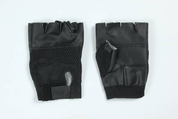 FLYUP PU Leather Gym Gloves Pack Of 1 Pair Gym & Fitness Gloves