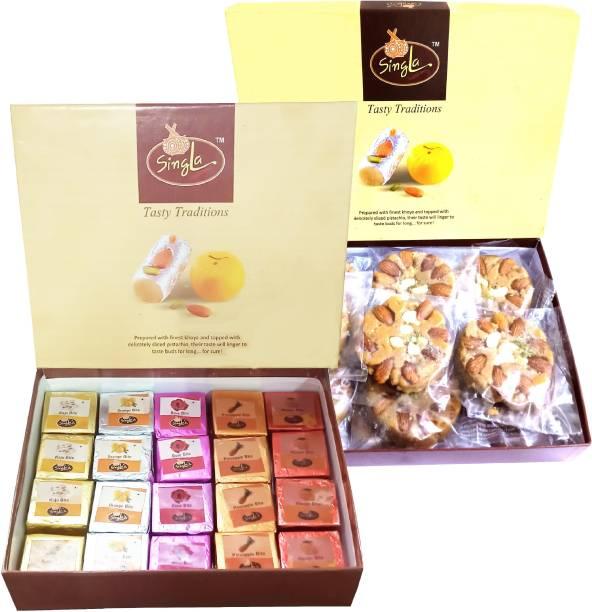 Singla Soan Halwa 400g Mango Pineapple Rose Kaju Orange Mix bite 400g Combo (Pack of 2*400g, 800g) Box
