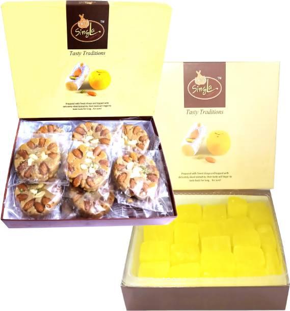 Singla Soan Halwa 500g Kesar Dry petha 500g Sweets Combo pack of 2 Box