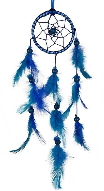 ILU Dream Catcher Handmade Beaded Circular Net with Feather Decoration Ornaments Size 7.5cm Diameter Nylon Dream Catcher