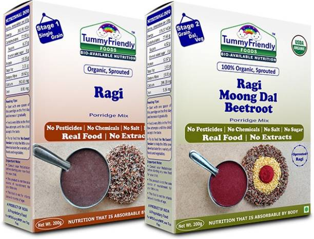 TummyFriendly Foods USDA Certified Organic Sprouted Ragi and 100% Organic Sprouted Ragi, MoongDal, Beetroot Porridge Mixes , Made of Organic Sprouted Ragi for Baby, Rich in Calcium, Iron, Protein, Fibre & Micro-Nutrients ,200g Each, 2 Packs Cereal