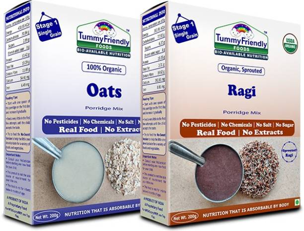 TummyFriendly Foods USDA Certified 100% Organic Oats and Organic Sprouted Ragi Porridge Mixes , Made of Organic Oats & Organic Sprouted Ragi for Baby, Rich in Beta-Glucan, Calcium, Iron, Protein, Fibre & Micro-Nutrients ,200g Each, 2 Packs Cereal