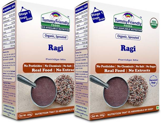 TummyFriendly Foods USDA Certified Organic Sprouted Ragi Porridge Mix , Made of Organic Sprouted Ragi for Baby, Rich in Calcium, Iron, Fibre & Micro-Nutrients ,200g Each, 2 Packs Cereal