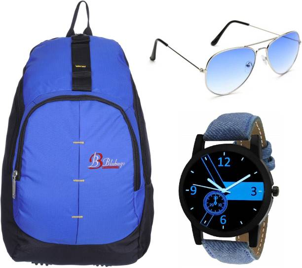 blubags Trending 26 Liters School Bag & College Bag For Boys With Analogue Watch and Blue Aviator Sunglasses 26 L Backpack