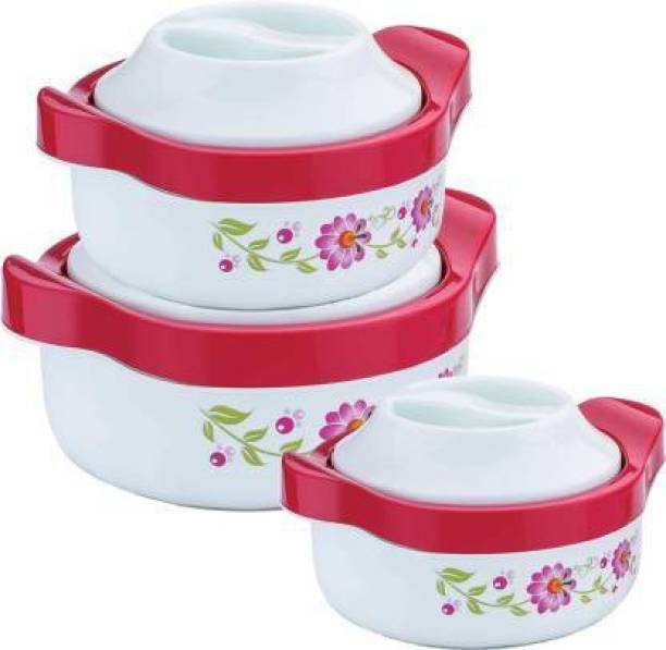PEYTON Branded Light Green Flower Thermoware Casserole Set Stainless Steel with Plastic Cover (800 ml, 1500 ml, 2500 ml Pack of 3) Pack of 3 Thermoware Casserole Set