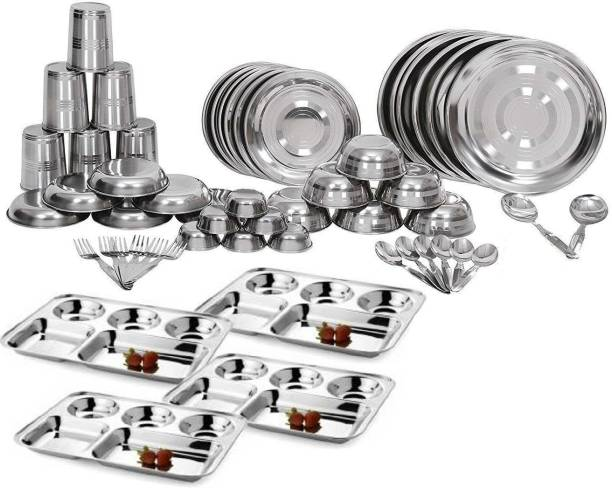 SteelGloss Pack of 54 Stainless Steel Stainless Steel 54 Pieces Dinner Set Included 6 Plate, 6 Bowl, 6 Glass, 6 Spoon, 6 Halwa Plate, 6 Fork, 6 Chatni Bowl, 2 Serving Spoon, 4 Bhojan Thali Dinner Set