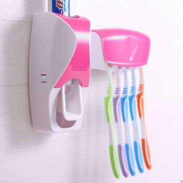 ERFOLG Toothpaste Dispenser with Plastic Toothbrush Holder