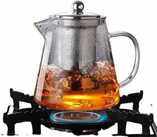 Devta 0.75 L Kettle Glass Tea Kettle Heat Resistant Tea Pot with Stainless Steel Infuser Strainer for Coffee Juice Loose Leaf Tea 750ml Pack of 1 Pitcher