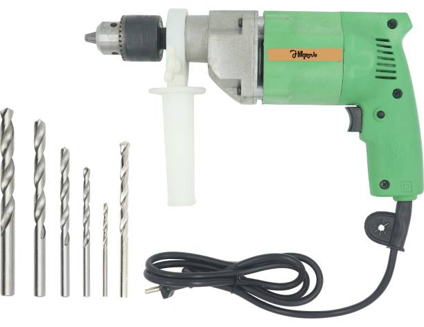 Hillgrove 2 Modes Multi-Purpose Household Electric Drilling Machine Industrial Grade High Power All Purpose Impact/Flat Drill Machine with Drill Bits for Making Holes in Metal/Wood/Concrete Pistol Grip Drill