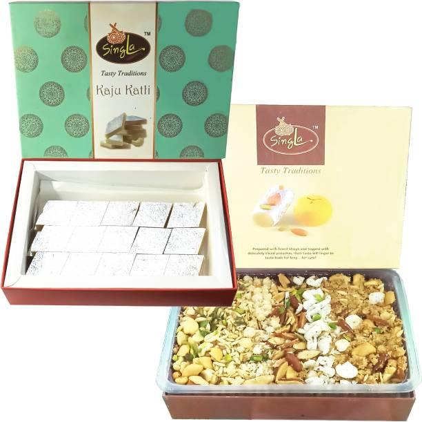 Singla Kaju Katli 400g Dry fruits Panjeeri 400g Combo (Pack of 2*400g, 800g) Panjiri Box Box