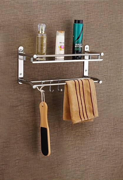 GLOXY by GLOXY Premium Bathroom Accessories Stainless Steel and Folding Towel Rack/Towel Hanger/Towel Stand/Holder/Towel rack Silver Towel Holder