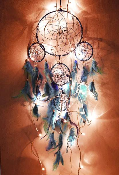 Tejash enterprises Dream Catcher Traditional Indian wall Art for Bedrooms, Home Wall, Hanging Design, blue with light 75 cm Wool Dream Catcher