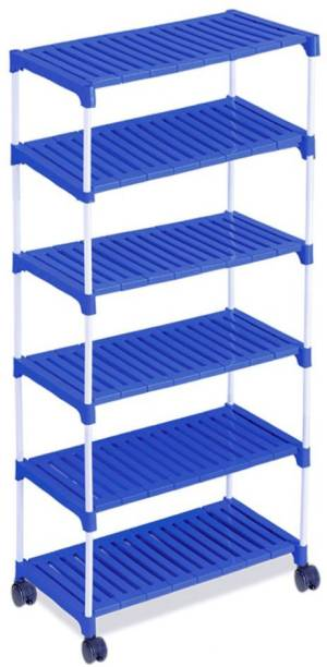 FLIPZON Multipurpose Super Smart Rack Organizer for Shoe/Clothes/Books with Wheels Metal Collapsible Shoe Stand