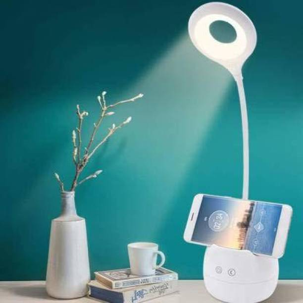 Renyke Rechargeable Desk Lamp with Organizer, Phone Holder, Night Light, Table Lamp for Room Study Desk Light Table Lamp