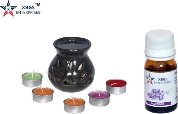 XBGS ENTERPRISES Color Ceramic aroma oil burner with 1 Clay Burner 15ml Lavender aroma oil and 5 Tea light candles Aroma Oil, Diffuser Set, Diffuser