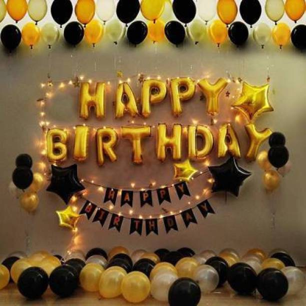 Kaliram & Sons BALLOONS 63 PCS BIRTHDAY PARTY DECORATION ITEMS WITH HAPPY BIRTHDAY FOIL BANNER AND LATEX BALLOONS (Set of 63)