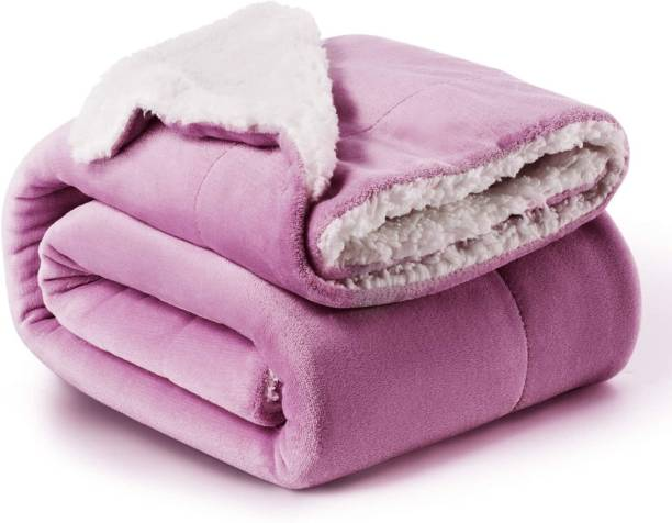 BSB HOME Solid Double Sherpa Blanket