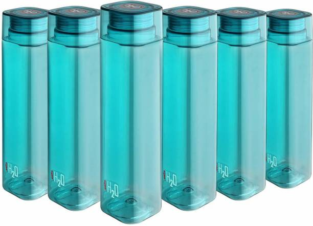 cello H2o Squaremate Premium Plastic Water Bottle, 1-Liter , Set of 6, Aqua Blue 1000 ml Bottle