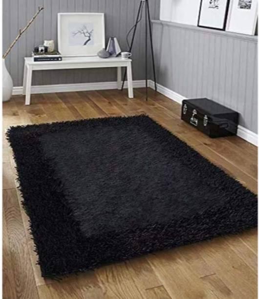 SR Handloom Black Polyester Carpet