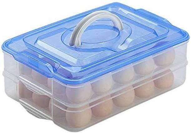 Zenith art ZA Layer 32 Grid Egg Storage Box Plastic 32 Egg Holder Box for Fridge Refrigerator Boxes Egg Double Layer Box - 2.8 dozen Plastic Egg Container  - 32 dozen Plastic Egg Container