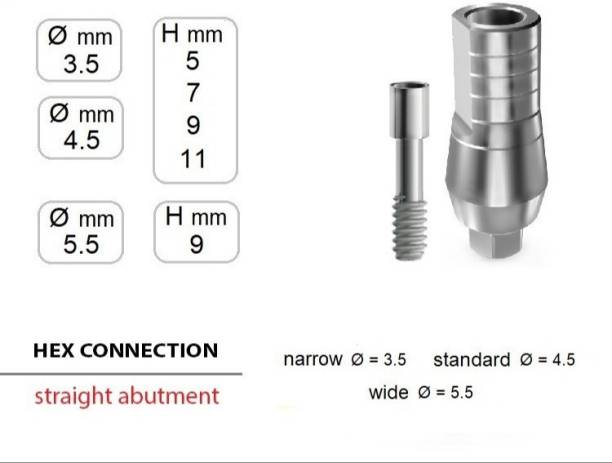 Navkar Surgical Company Dental implant with Abutment 3.3mm×8mm Dental Implant