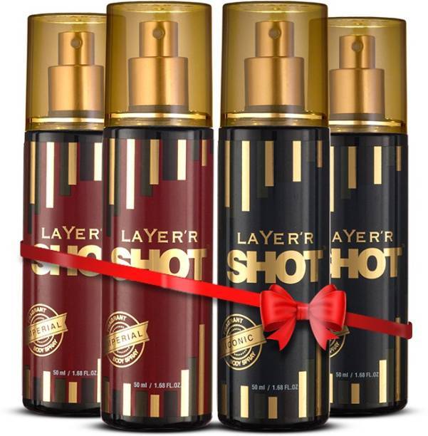 LAYER'R Shot Gold Iconic Body Spray 50 Ml X 2 & Imperial Body Spray 50 ml X 2 Combo For Men
