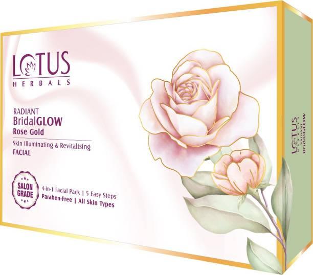 LOTUS HERBALS RADIANT BridalGLOW Rose Gold Skin Illuminating & Revitalising Facial 4 in 1 Kit