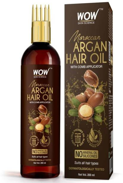 WOW SKIN SCIENCE Moroccan Argan Hair Oil - WITH COMB APPLICATOR - Cold Pressed - No Mineral Oil & Silicones - 200mL Hair Oil