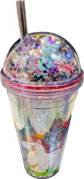 Azotique Glitter Blue Unicorn Frosty Mason Sipper Glass with Straw for All Kinds of Drinks (650ML) Glass Mason Jar